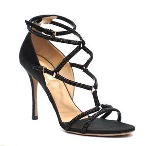 Valentino Crystal Black Strappy Heels